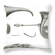 Surgical Instruments, 18th Century Throw Pillow