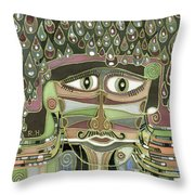 Surprize Drops Surrealistic Green Brown Face With  Liquid Drops Large Eyes Mustache  Throw Pillow