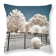 Surreal Michigan Infrared Nature - Dreamy Color Infrared Nature Fence Landscape Michigan Infrared Throw Pillow