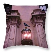 Surreal Raven Gothic Lantern On Building Throw Pillow