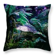 Surreal Tropical Forest Drawing Illustrated Scene Throw Pillow