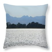 Sutter Buttes And Flooded Rice Field Throw Pillow