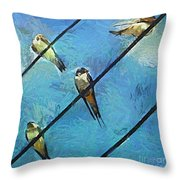 Swallows Goes To South Throw Pillow
