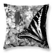 Swallowtail Butterfly And Plum Blossoms Throw Pillow