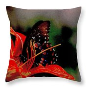 Swallowtail On Orange Throw Pillow