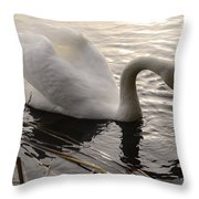 Swan Along The Shore Throw Pillow