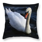 Swan Flying In The Water  Denmark Throw Pillow