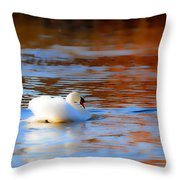Swan Gold And Blue Throw Pillow
