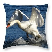 Swan In Action Throw Pillow