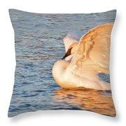 Swan In Golden Light Throw Pillow