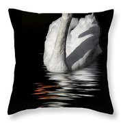 Swan Riflected In The Dark Throw Pillow