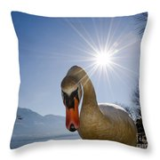 Swan Saying Hello Throw Pillow