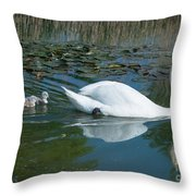 Swan With Cygnets Throw Pillow