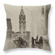 Swann Memorial Fountain In Sepia Throw Pillow