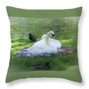Swans In Nest Throw Pillow