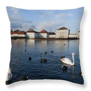 Swans Seen At Nymphenburg Palace Throw Pillow