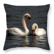 Swans Swimming Throw Pillow