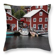 Swedish Fishing Village Throw Pillow