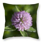Sweet Pink Clover Throw Pillow