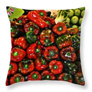 Sweet Red Peppers Throw Pillow
