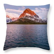 Swiftcurrent Lake At Dawn Throw Pillow