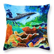 Swimming With The Dolphins Throw Pillow