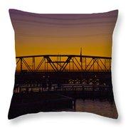 Swing Bridge Sunset Throw Pillow