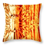 Swirly Embossed Gold Throw Pillow