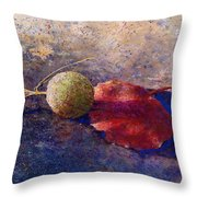 Sycamore Ball And Leaf Throw Pillow