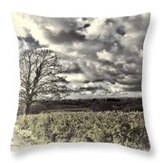 Sycamore Tree Cream Throw Pillow