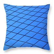 Symmetrical Pattern Of Blue Squares Throw Pillow