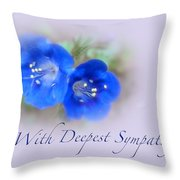 Sympathy Card - Blue Wildflower Throw Pillow
