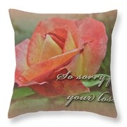 Sympathy Greeting Card - Peach Rose Throw Pillow
