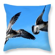 Synchronized Flying Throw Pillow