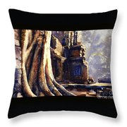 Ta Prohm Khmer Temple In Cambodia Throw Pillow