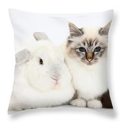 Tabby-point Birman Cat And White Rabbit Throw Pillow