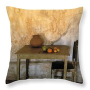 Table And Chairs Infront Of Weathered Throw Pillow