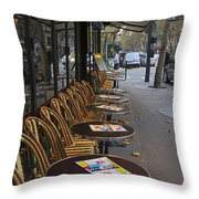 Tables Outside A Paris Bistro On An Autumn Day Throw Pillow
