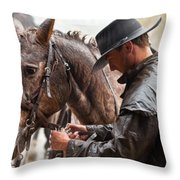 Tacking Up In The Rain Throw Pillow
