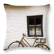 Tahtched Cottage And Bike Throw Pillow