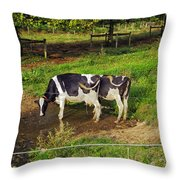 Tail Of Two Cows Throw Pillow