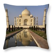 Taj Mahal Reflection Throw Pillow