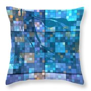 Take Me Geometric Blue Throw Pillow