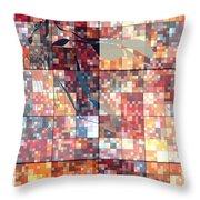 Take Me Geometric Red Throw Pillow