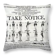 Revolutionary War  Take Notice  Throw Pillow