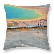 Taking A Stroll At Yellowstone's Grand Prismatic Throw Pillow by Bruce Gourley
