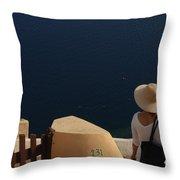 Taking In The View Santorini Throw Pillow