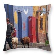 Taking Sheep To Market At Chichicastenango Throw Pillow