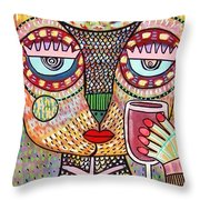 Talavera Feather Owl Drinking Red Wine S Throw Pillow
