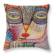 Talavera Pink Owl Drinking Red Wine Throw Pillow